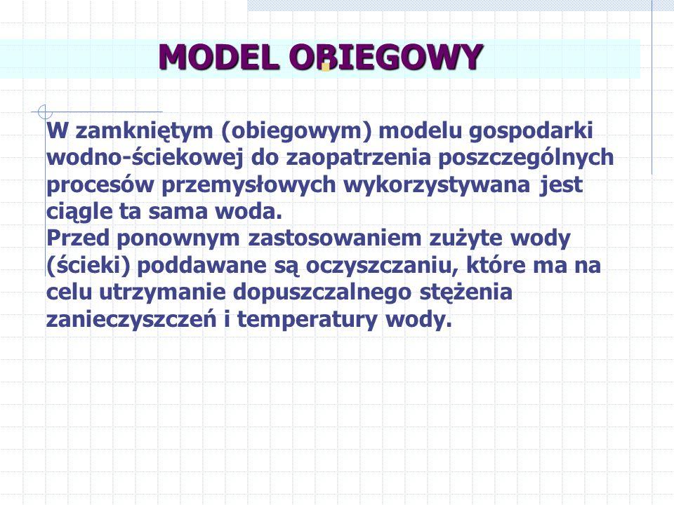 W zamkniętym (obiegowym) modelu gospodarki wodno-ściekowej do zaopatrzenia poszczególnych procesów przemysłowych wykorzystywana jest ciągle ta sama wo