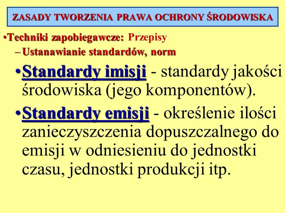 Techniki zapobiegawcze:Techniki zapobiegawcze: Przepisy –Ustanawianie standardów, norm Standardy imisjiStandardy imisji - standardy jakości środowiska