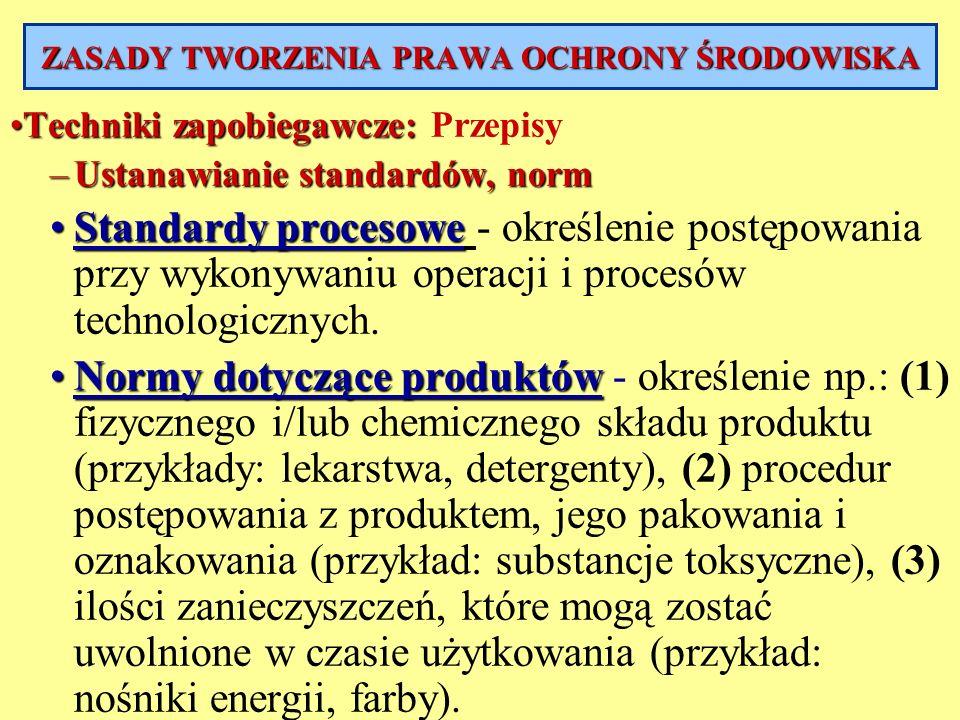 ZASADY TWORZENIA PRAWA OCHRONY ŚRODOWISKA Techniki zapobiegawcze:Techniki zapobiegawcze: Przepisy –Ustanawianie standardów, norm Standardy procesoweSt