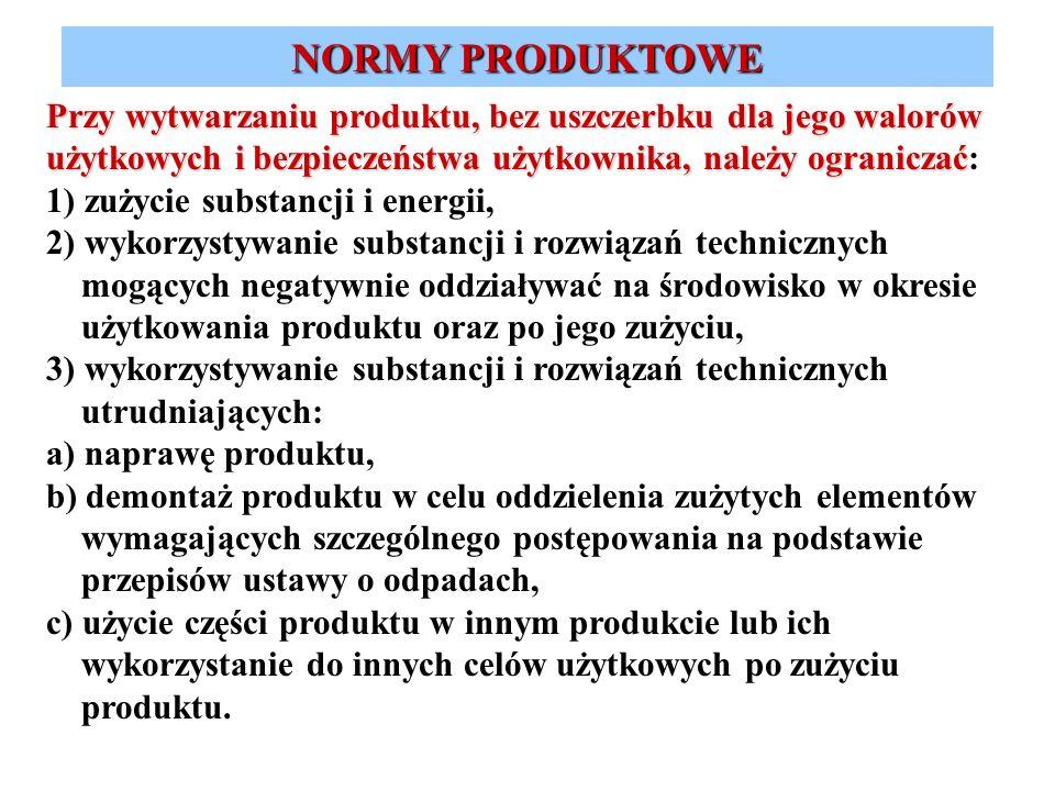 Przy wytwarzaniu produktu, bez uszczerbku dla jego walorów użytkowych i bezpieczeństwa użytkownika, należy ograniczać Przy wytwarzaniu produktu, bez u