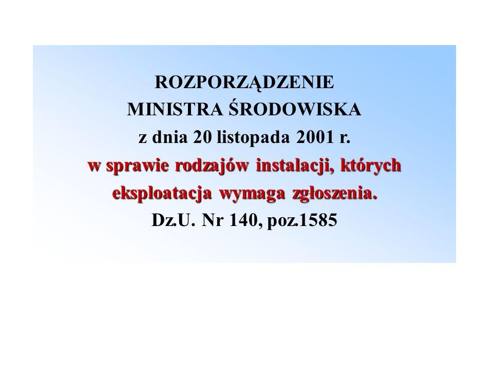 ROZPORZĄDZENIE MINISTRA ŚRODOWISKA z dnia 20 listopada 2001 r. w sprawie rodzajów instalacji, których eksploatacja wymaga zgłoszenia. Dz.U. Nr 140, po