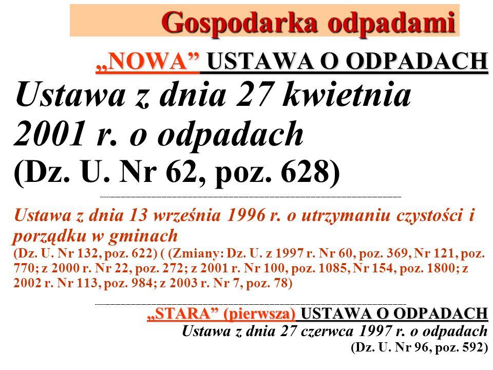 Gospodarka odpadami NOWA USTAWA O ODPADACH Ustawa z dnia 27 kwietnia 2001 r. o odpadach (Dz. U. Nr 62, poz. 628) _____________________________________