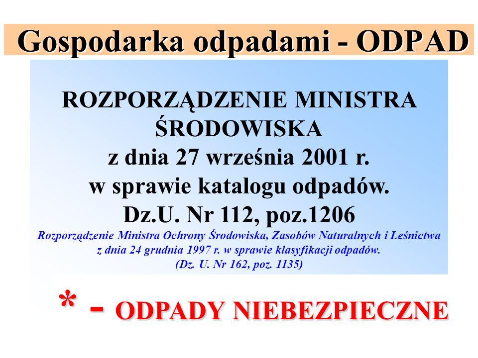 Gospodarka odpadami - ODPAD ROZPORZĄDZENIE MINISTRA ŚRODOWISKA z dnia 27 września 2001 r. w sprawie katalogu odpadów. Dz.U. Nr 112, poz.1206 Rozporząd