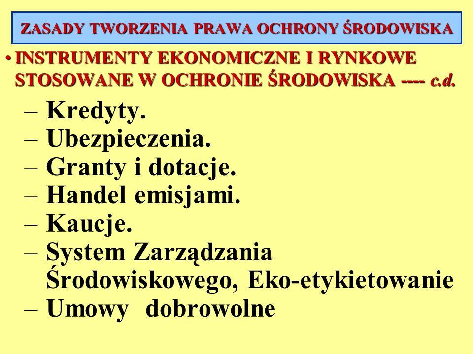 INSTRUMENTY EKONOMICZNE I RYNKOWE STOSOWANE W OCHRONIE ŚRODOWISKA ---- c.d.INSTRUMENTY EKONOMICZNE I RYNKOWE STOSOWANE W OCHRONIE ŚRODOWISKA ---- c.d.