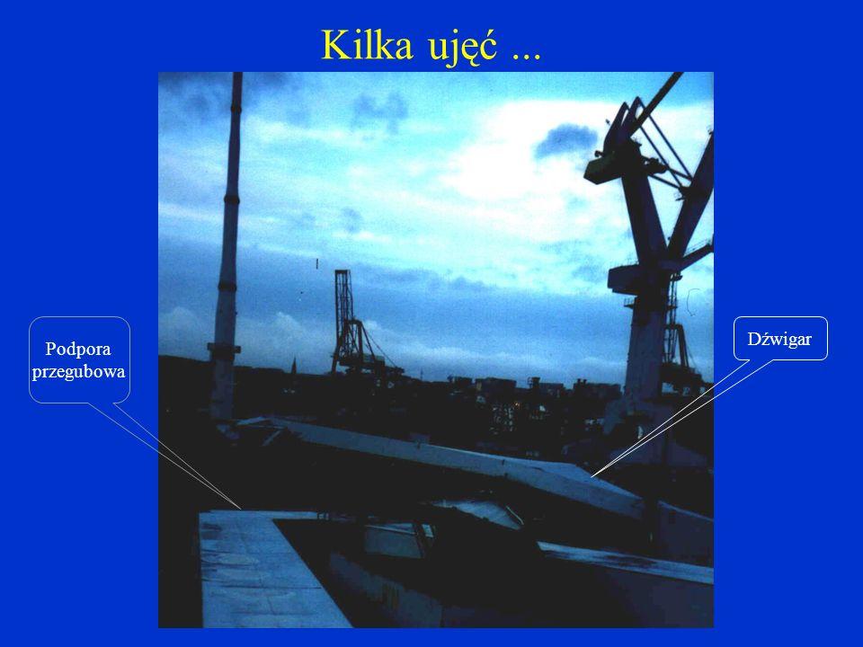 Kilka ujęć... Krawędź dźwigara Słup żurawia na bramie doku