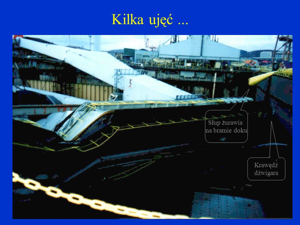 Kilka ujęć... Podpora sztywna w niecce doku Żuraw na bramie doku