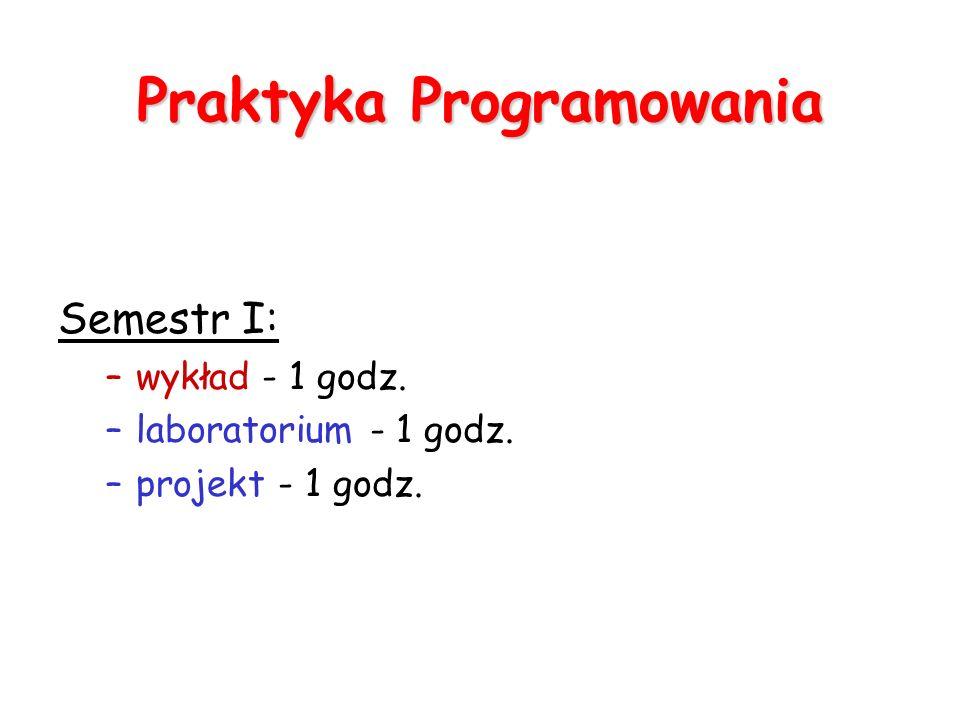 Praktyka Programowania Semestr I: –wykład - 1 godz. –laboratorium - 1 godz. –projekt - 1 godz.