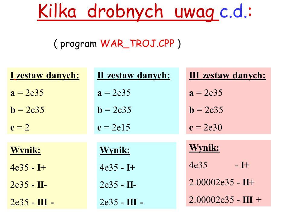 Kilka drobnych uwag c.d.: ( program WAR_TROJ.CPP ) I zestaw danych: a = 2e35 b = 2e35 c = 2 II zestaw danych: a = 2e35 b = 2e35 c = 2e15 Wynik: 4e35 - I+ 2e35 - II- 2e35 - III - Wynik: 4e35 - I+ 2e35 - II- 2e35 - III - Wynik: 4e35 - I+ 2.00002e35 - II+ 2.00002e35 - III + III zestaw danych: a = 2e35 b = 2e35 c = 2e30