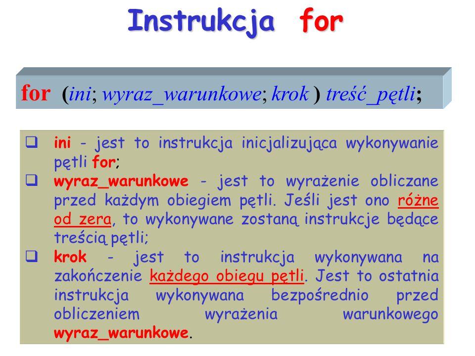 Instrukcja for for (ini; wyraz_warunkowe; krok ) treść_pętli; ini - jest to instrukcja inicjalizująca wykonywanie pętli for; wyraz_warunkowe - jest to wyrażenie obliczane przed każdym obiegiem pętli.