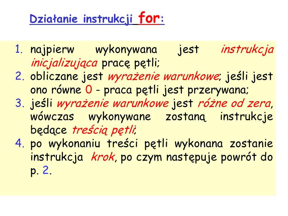 Działanie instrukcji for : 1.najpierw wykonywana jest instrukcja inicjalizująca pracę pętli; 2.obliczane jest wyrażenie warunkowe; jeśli jest ono równe 0 - praca pętli jest przerywana; 3.jeśli wyrażenie warunkowe jest różne od zera, wówczas wykonywane zostaną instrukcje będące treścią pętli; 4.po wykonaniu treści pętli wykonana zostanie instrukcja krok, po czym następuje powrót do p.