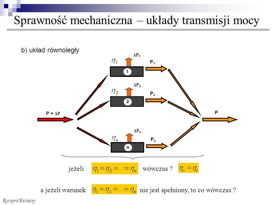 Sprawność mechaniczna – układy transmisji mocy Ryszard Kościelny P + ΔP ΔP 1 P1P1 1 ΔP 2 P2P2 2 P ΔP n n PnPn b) układ równoległy jeżeli wówczas .