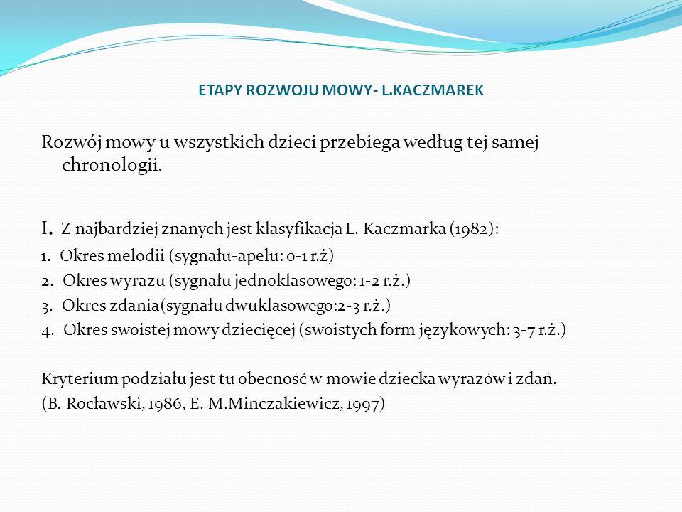 ETAPY ROZWOJU MOWY- L.KACZMAREK Rozwój mowy u wszystkich dzieci przebiega według tej samej chronologii. I. Z najbardziej znanych jest klasyfikacja L.