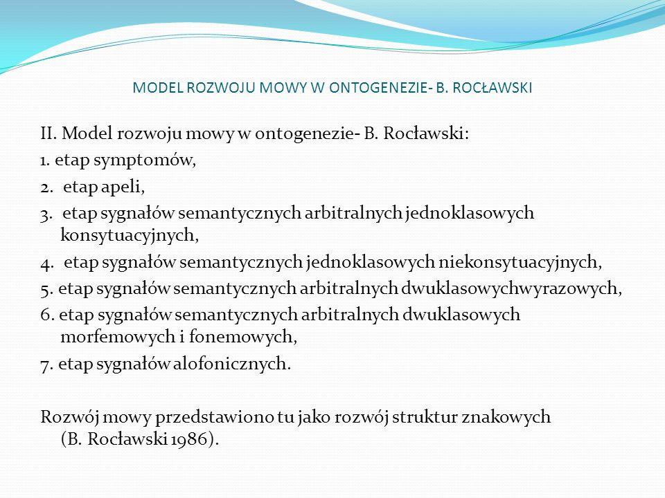MODEL ROZWOJU MOWY W ONTOGENEZIE- B. ROCŁAWSKI II. Model rozwoju mowy w ontogenezie- B. Rocławski: 1. etap symptomów, 2. etap apeli, 3. etap sygnałów