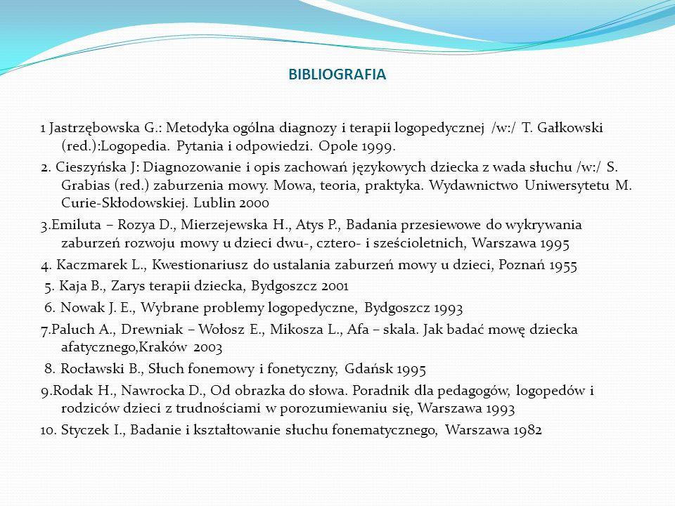 BIBLIOGRAFIA 1 Jastrzębowska G.: Metodyka ogólna diagnozy i terapii logopedycznej /w:/ T. Gałkowski (red.):Logopedia. Pytania i odpowiedzi. Opole 1999