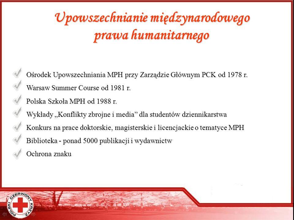 Upowszechnianie międzynarodowego prawa humanitarnego Ośrodek Upowszechniania MPH przy Zarządzie Głównym PCK od 1978 r. Warsaw Summer Course od 1981 r.