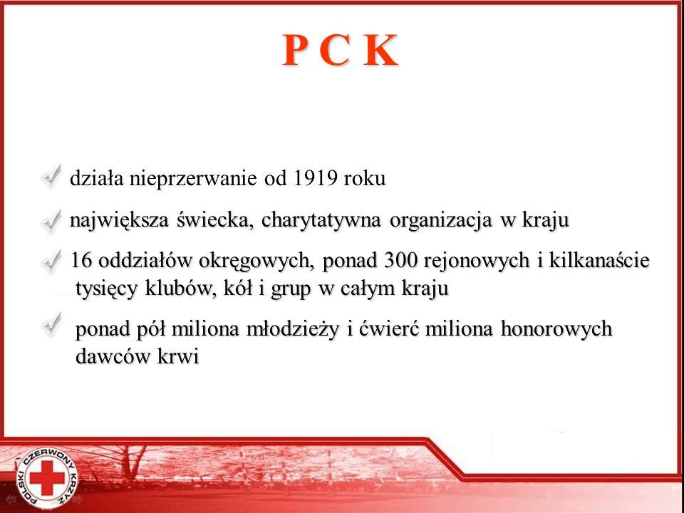 P C K działa nieprzerwanie od 1919 roku największa świecka, charytatywna organizacja w kraju największa świecka, charytatywna organizacja w kraju 16 o