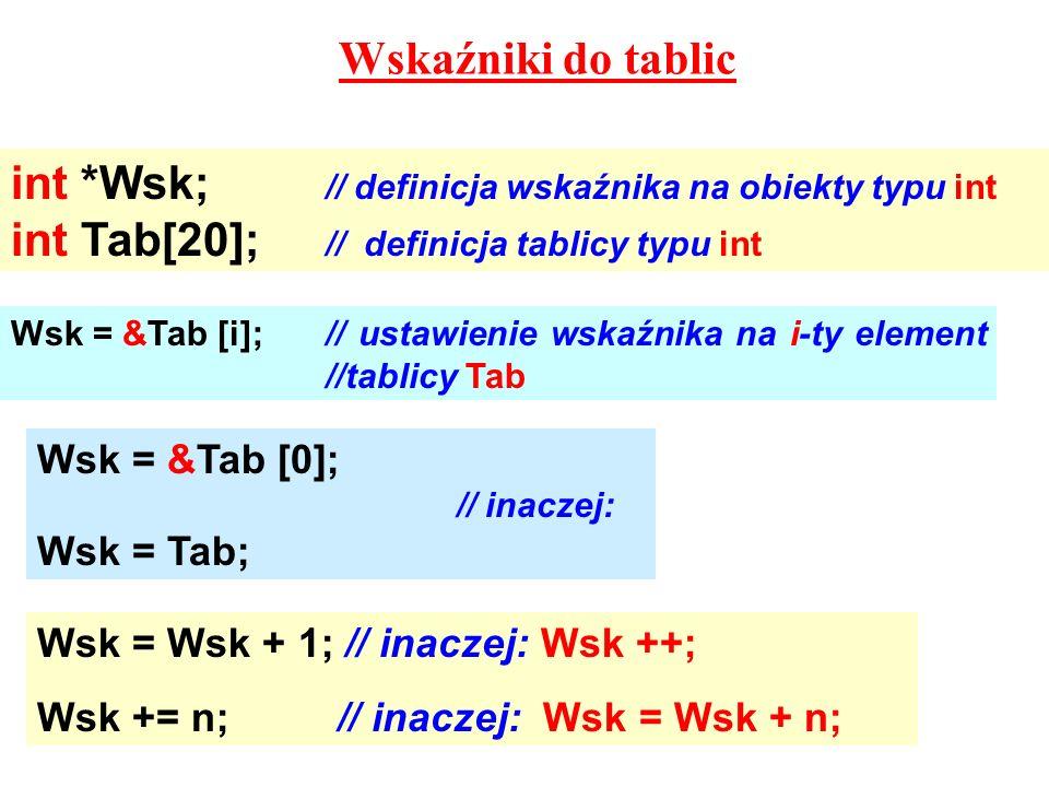 Wskaźniki do tablic int *Wsk; // definicja wskaźnika na obiekty typu int int Tab[20]; // definicja tablicy typu int Wsk = &Tab [i];// ustawienie wskaźnika na i-ty element //tablicy Tab Wsk = &Tab [0]; // inaczej: Wsk = Tab; Wsk = Wsk + 1; // inaczej: Wsk ++; Wsk += n; // inaczej: Wsk = Wsk + n;