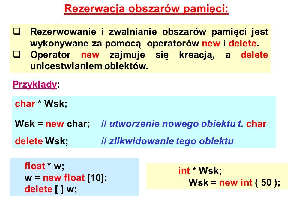 Rezerwacja obszarów pamięci: Rezerwowanie i zwalnianie obszarów pamięci jest wykonywane za pomocą operatorów new i delete. Operator new zajmuje się kr