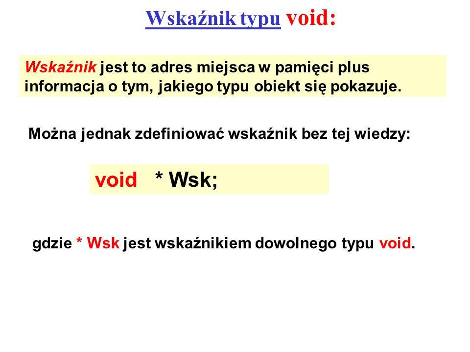 Wskaźnik typu void: Wskaźnik jest to adres miejsca w pamięci plus informacja o tym, jakiego typu obiekt się pokazuje. Można jednak zdefiniować wskaźni