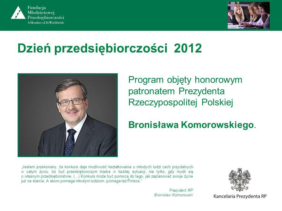 Dzień przedsiębiorczości 2012 Program objęty honorowym patronatem Prezydenta Rzeczypospolitej Polskiej Bronisława Komorowskiego. Jestem przekonany, że