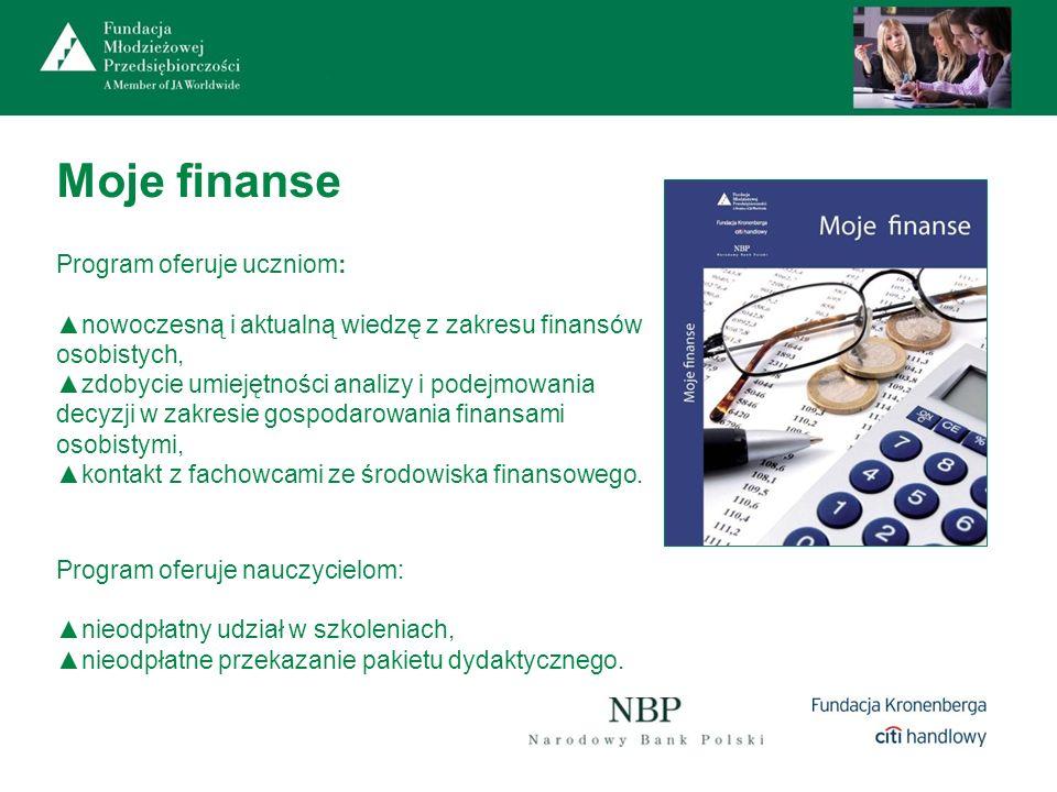 Moje finanse Program oferuje nauczycielom: nieodpłatny udział w szkoleniach, nieodpłatne przekazanie pakietu dydaktycznego. Program oferuje uczniom: n