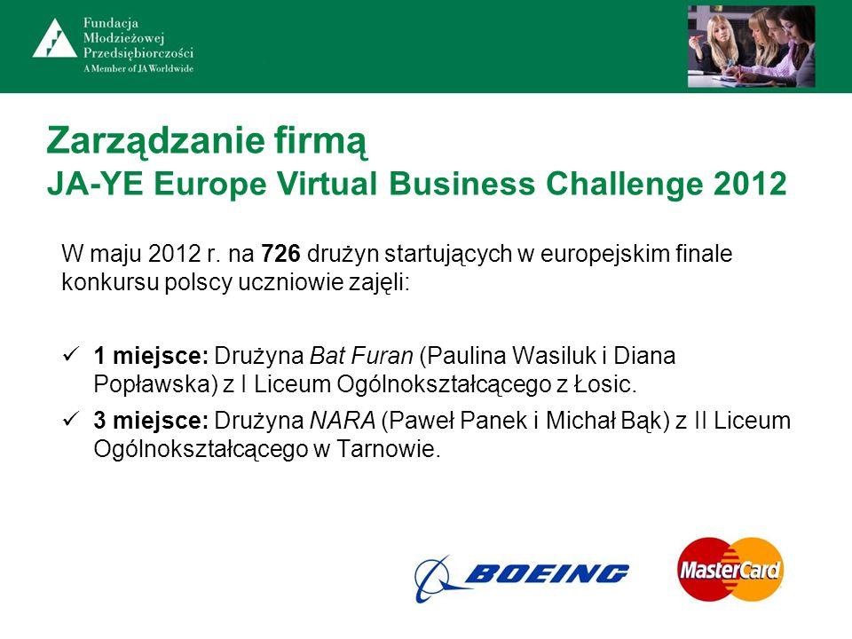 Zarządzanie firmą JA-YE Europe Virtual Business Challenge 2012 W maju 2012 r. na 726 drużyn startujących w europejskim finale konkursu polscy uczniowi