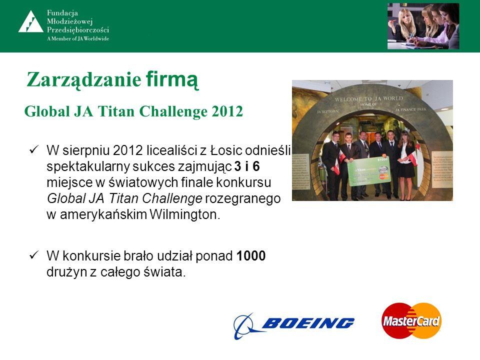 Zarządzanie firmą Global JA Titan Challenge 2012 W sierpniu 2012 licealiści z Łosic odnieśli spektakularny sukces zajmując 3 i 6 miejsce w światowych