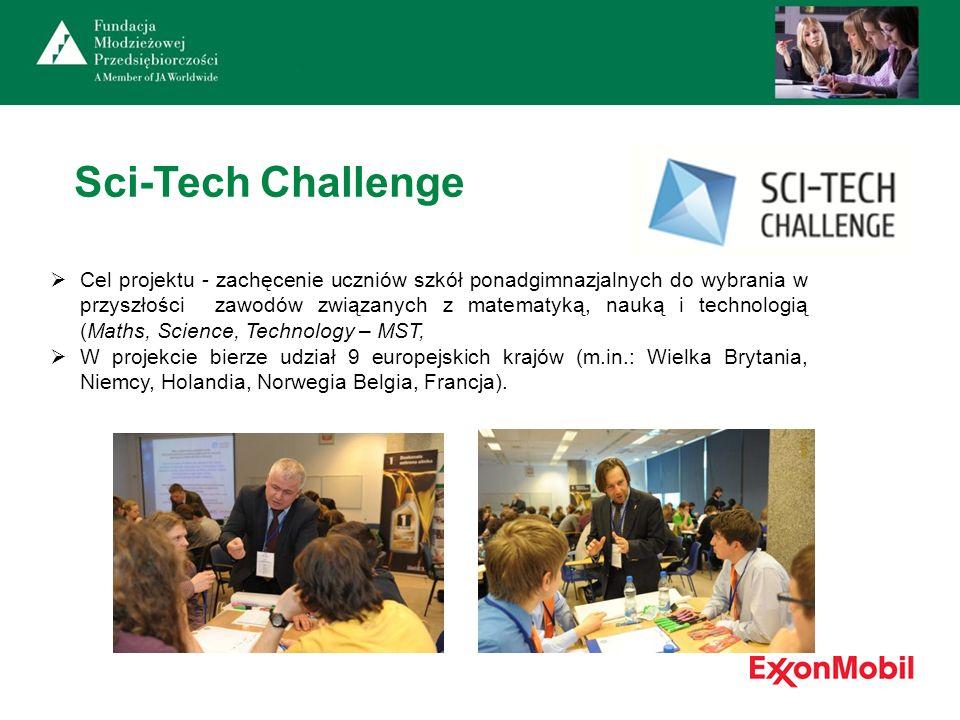 Sci-Tech Challenge Cel projektu - zachęcenie uczniów szkół ponadgimnazjalnych do wybrania w przyszłości zawodów związanych z matematyką, nauką i techn