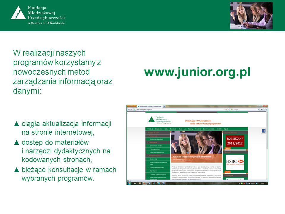 W realizacji naszych programów korzystamy z nowoczesnych metod zarządzania informacją oraz danymi: ciągła aktualizacja informacji na stronie interneto