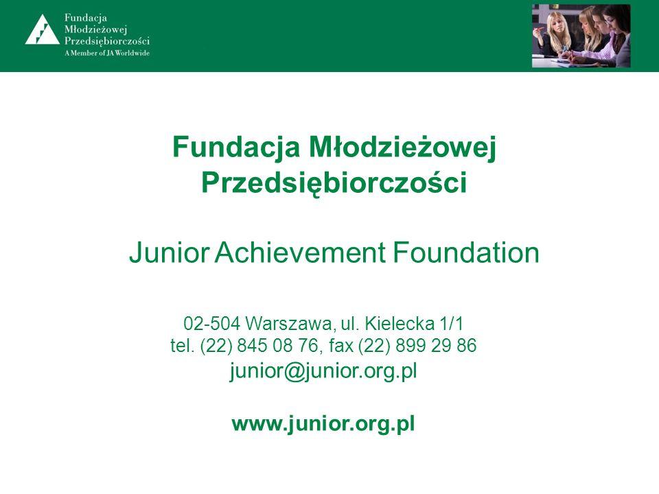 02-504 Warszawa, ul. Kielecka 1/1 tel. (22) 845 08 76, fax (22) 899 29 86 junior@junior.org.pl www.junior.org.pl Fundacja Młodzieżowej Przedsiębiorczo