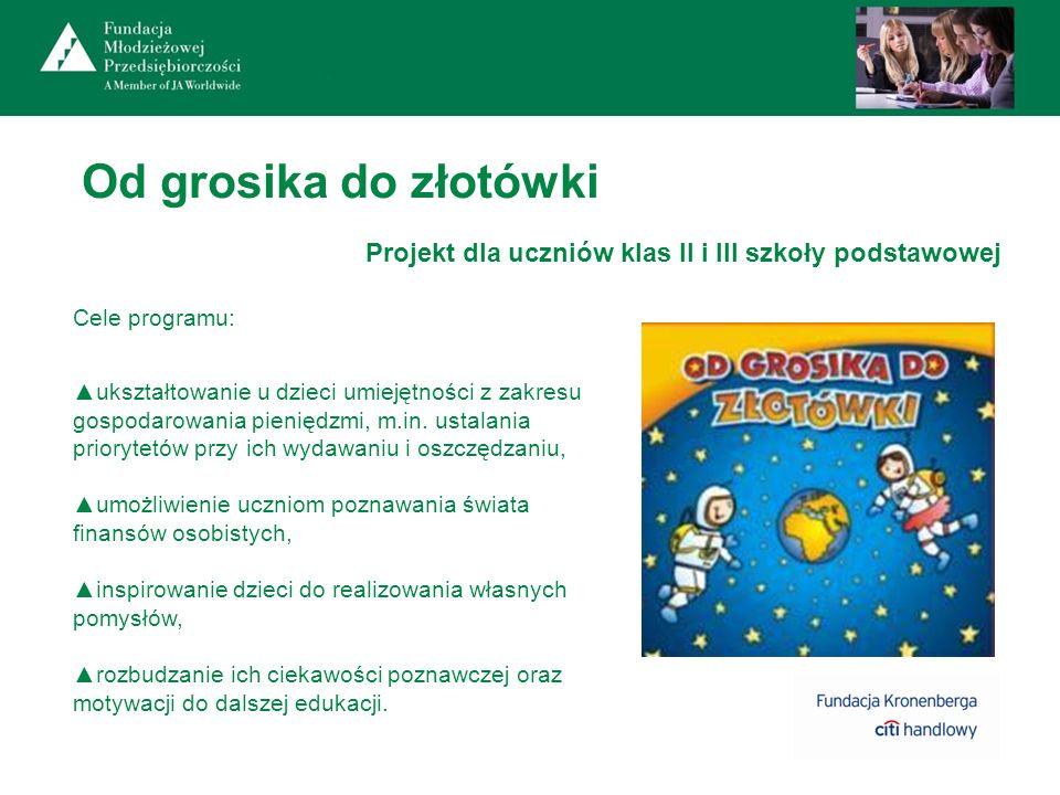 Od grosika do złotówki Projekt dla uczniów klas II i III szkoły podstawowej Cele programu: ukształtowanie u dzieci umiejętności z zakresu gospodarowan