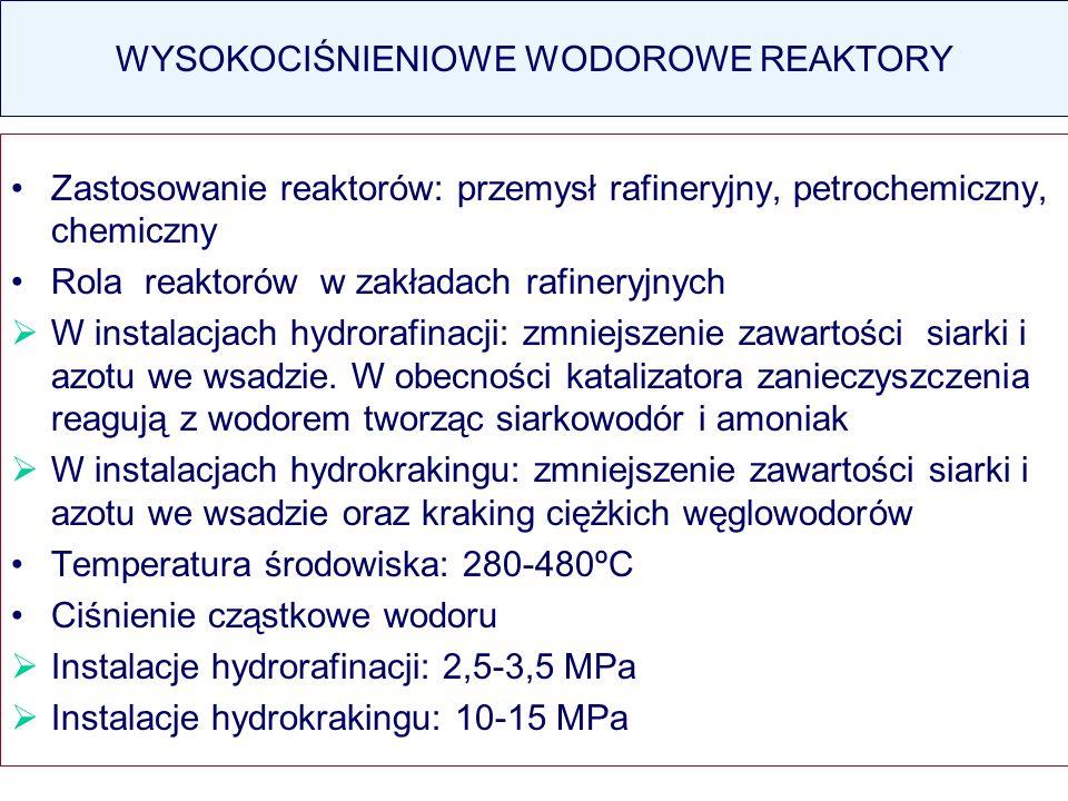 WYSOKOCIŚNIENIOWE WODOROWE REAKTORY Zastosowanie reaktorów: przemysł rafineryjny, petrochemiczny, chemiczny Rola reaktorów w zakładach rafineryjnych W