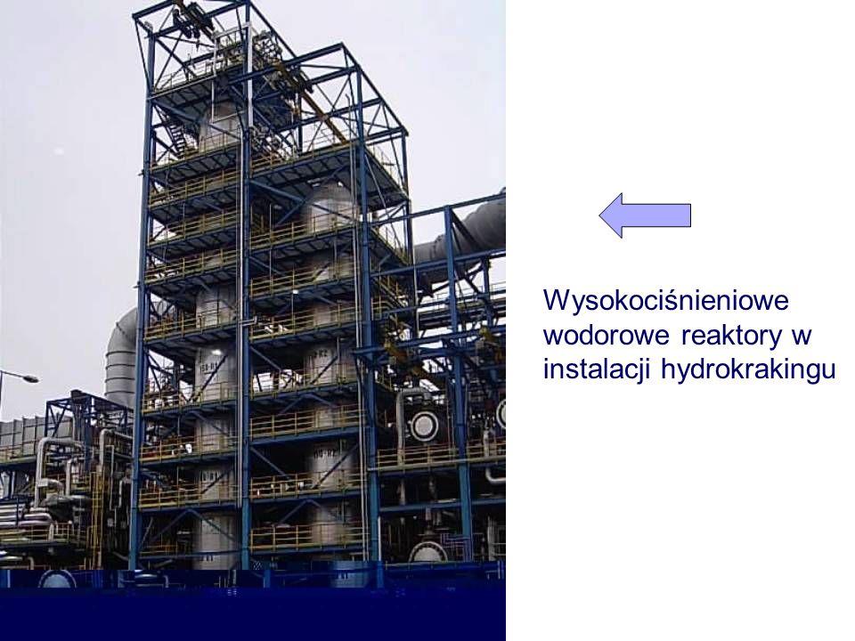 Schemat budowy reaktora wlot wylot Króciec wysypu katalizatora Króciec gazu wodorowego chłodzącego Koszyk wlotowy Powierzchnia katalizatora Półka perforowana Półka z kołpakami