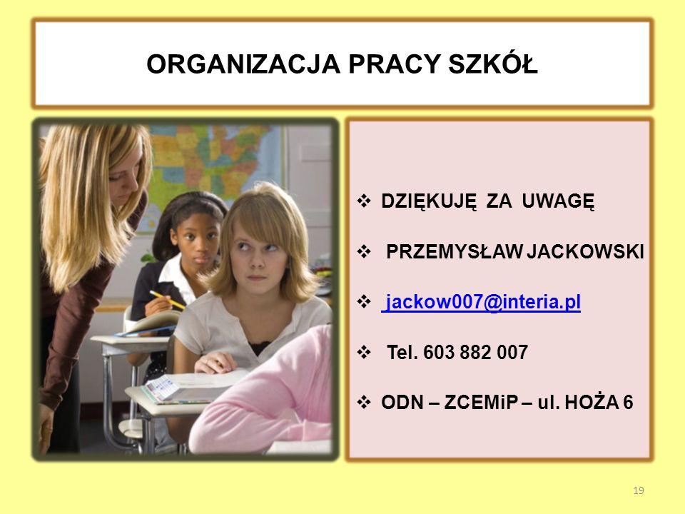 ORGANIZACJA PRACY SZKÓŁ DZIĘKUJĘ ZA UWAGĘ PRZEMYSŁAW JACKOWSKI jackow007@interia.pl Tel.