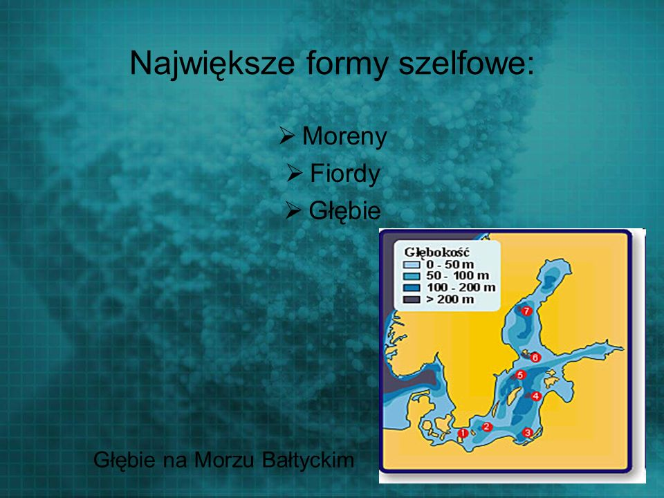 Największe formy szelfowe: Moreny Fiordy Głębie Głębie na Morzu Bałtyckim