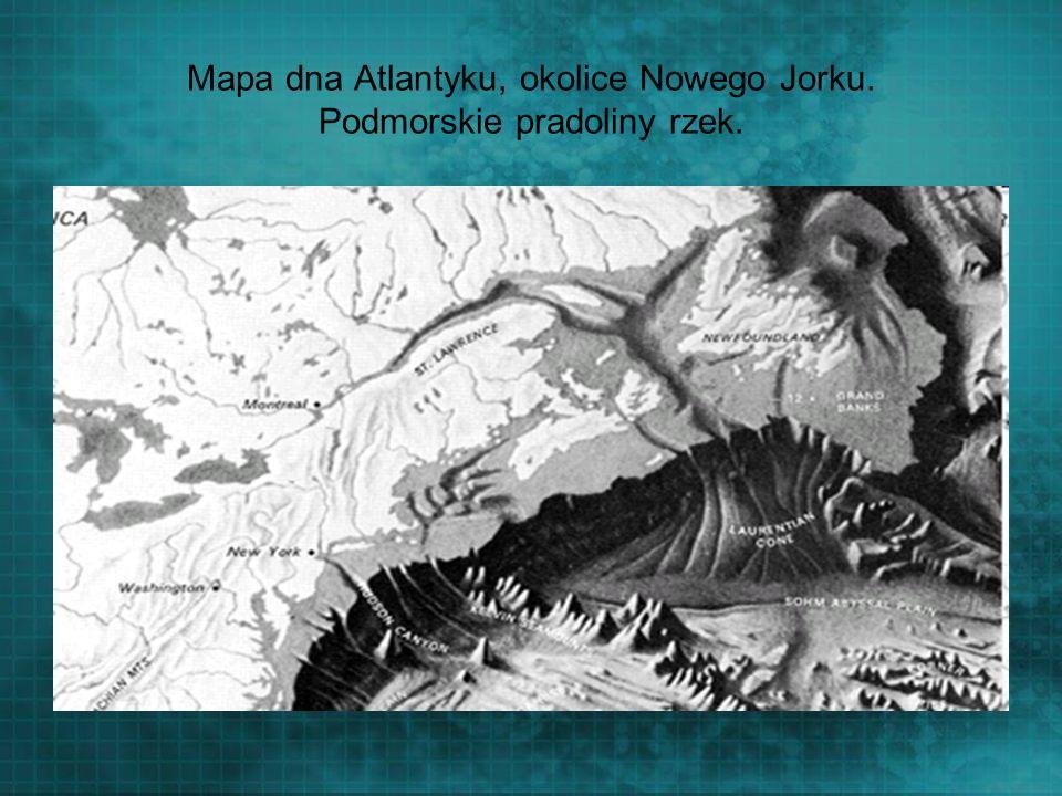Mapa dna Atlantyku, okolice Nowego Jorku. Podmorskie pradoliny rzek.