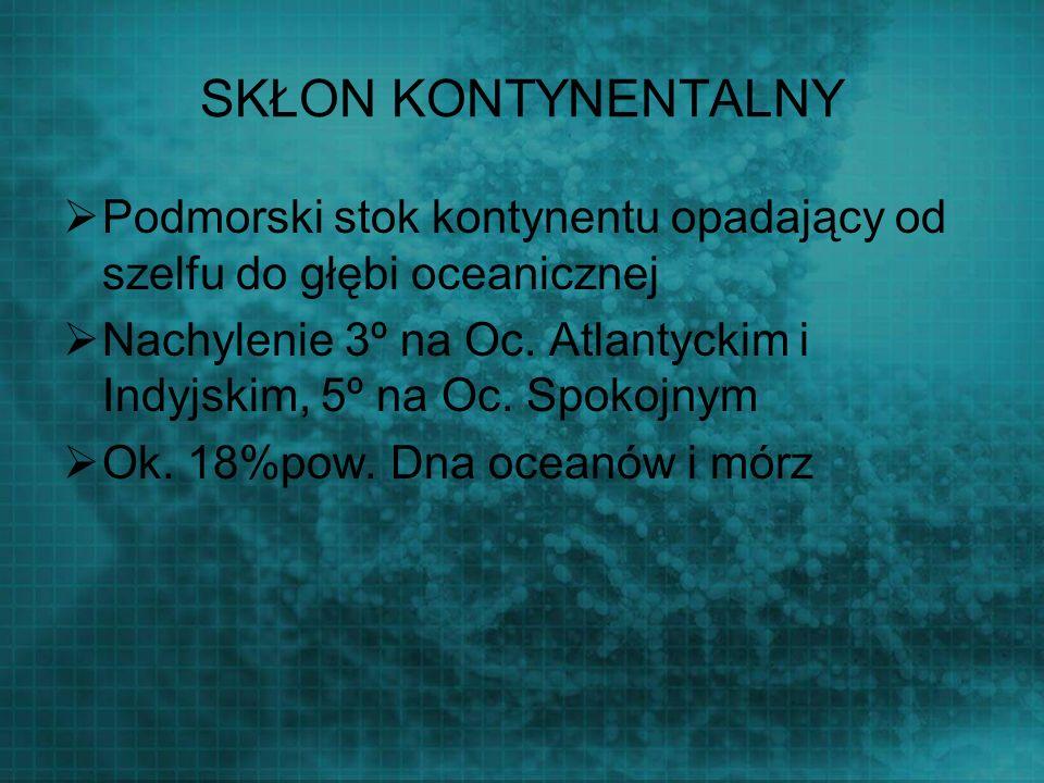 SKŁON KONTYNENTALNY Podmorski stok kontynentu opadający od szelfu do głębi oceanicznej Nachylenie 3º na Oc. Atlantyckim i Indyjskim, 5º na Oc. Spokojn