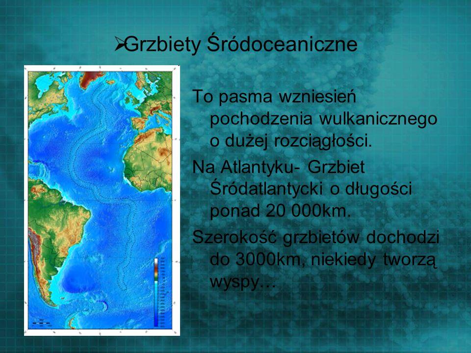 Grzbiety Śródoceaniczne To pasma wzniesień pochodzenia wulkanicznego o dużej rozciągłości. Na Atlantyku- Grzbiet Śródatlantycki o długości ponad 20 00