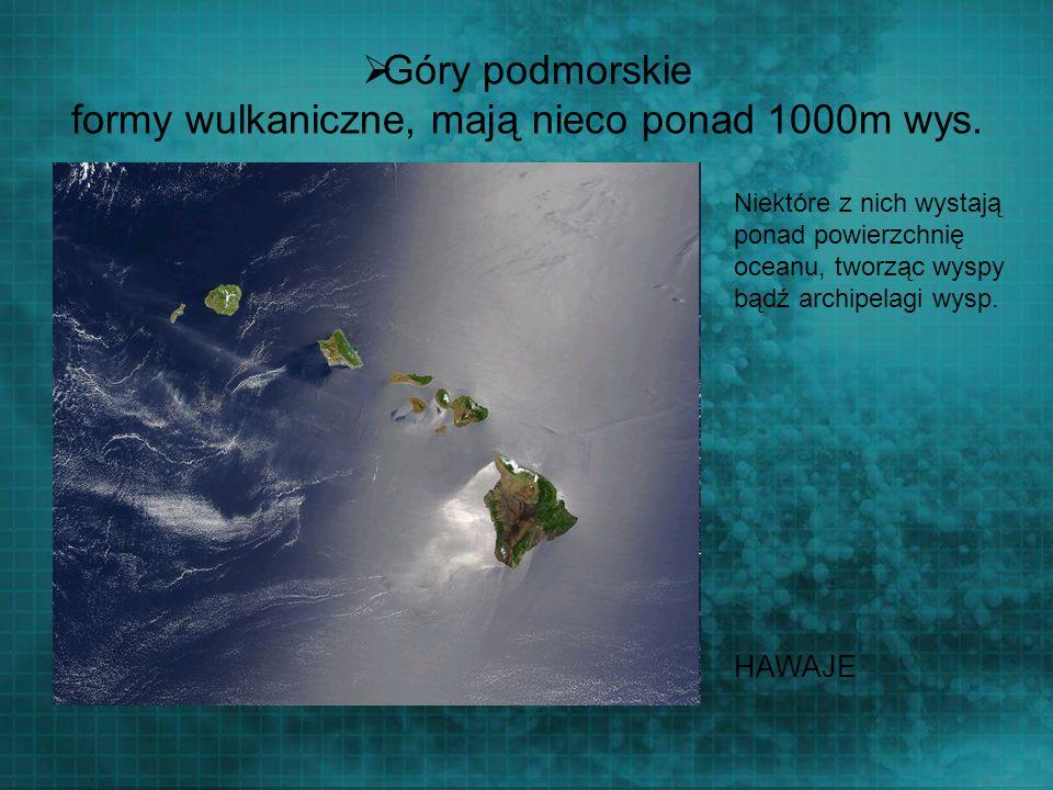 Góry podmorskie formy wulkaniczne, mają nieco ponad 1000m wys. Niektóre z nich wystają ponad powierzchnię oceanu, tworząc wyspy bądź archipelagi wysp.