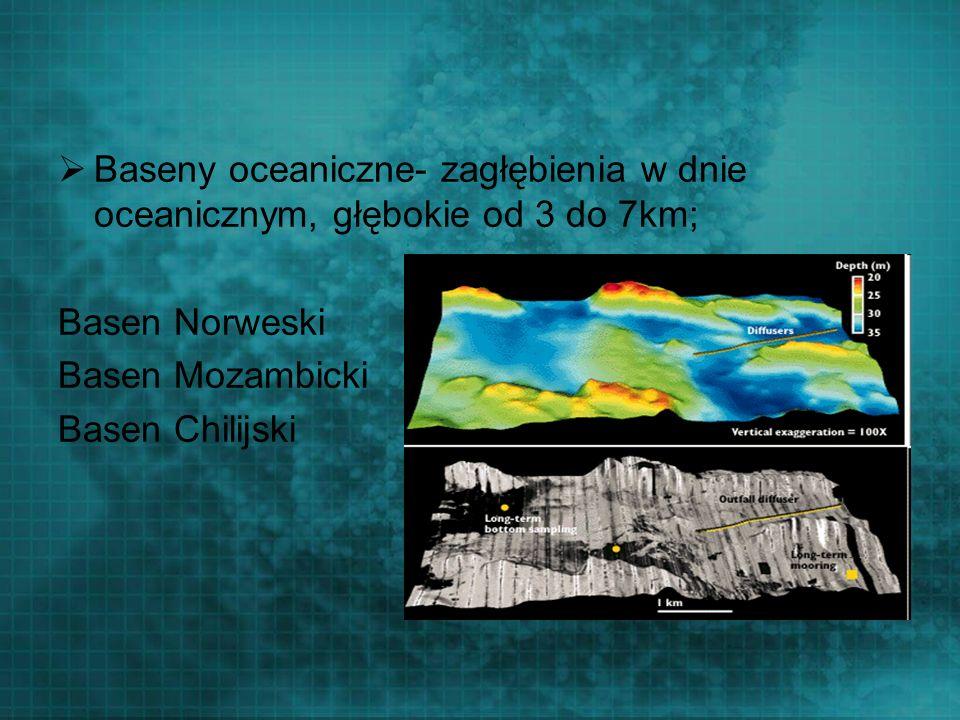 Baseny oceaniczne- zagłębienia w dnie oceanicznym, głębokie od 3 do 7km; Basen Norweski Basen Mozambicki Basen Chilijski