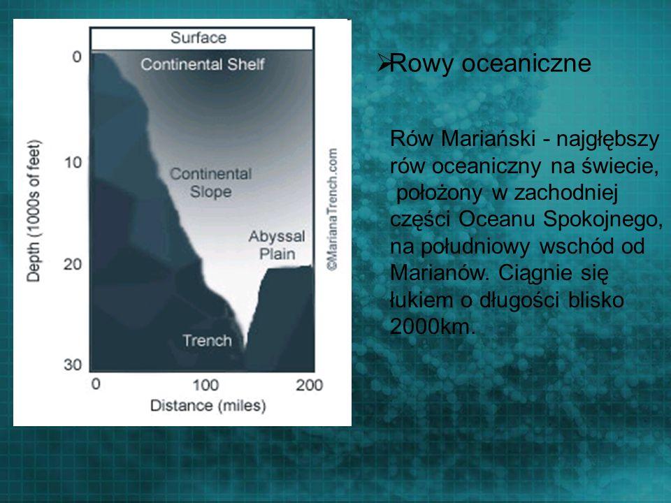 Rowy oceaniczne Rów Mariański - najgłębszy rów oceaniczny na świecie, położony w zachodniej części Oceanu Spokojnego, na południowy wschód od Marianów