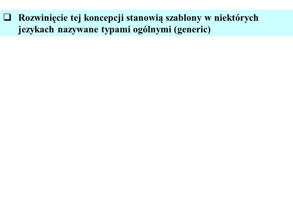 Rozwinięcie tej koncepcji stanowią szablony w niektórych jezykach nazywane typami ogólnymi (generic)