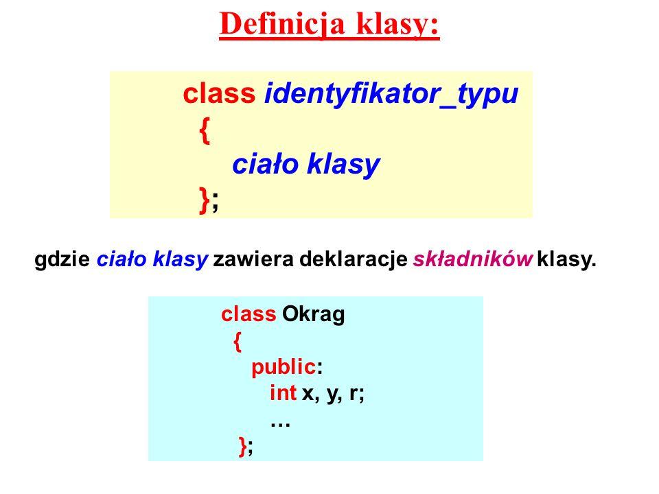Definicja klasy: class identyfikator_typu { ciało klasy }; gdzie ciało klasy zawiera deklaracje składników klasy. class Okrag { public: int x, y, r; …