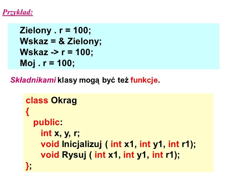 Zielony. r = 100; Wskaz = & Zielony; Wskaz -> r = 100; Moj. r = 100; Przykład: Składnikami klasy mogą być też funkcje. class Okrag { public: int x, y,