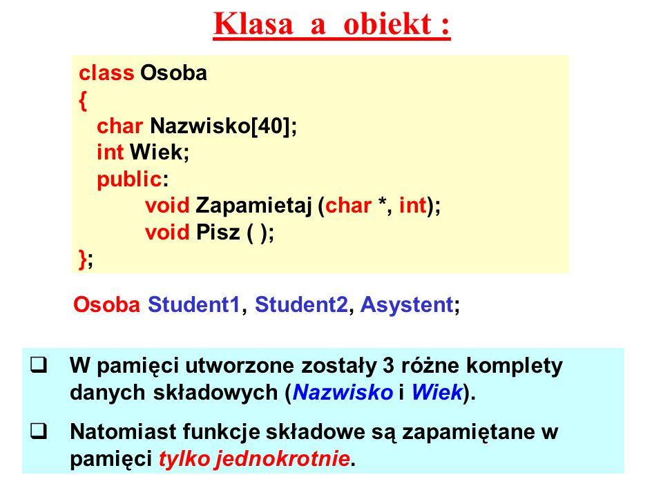 Klasa a obiekt : class Osoba { char Nazwisko[40]; int Wiek; public: void Zapamietaj (char *, int); void Pisz ( ); }; Osoba Student1, Student2, Asysten