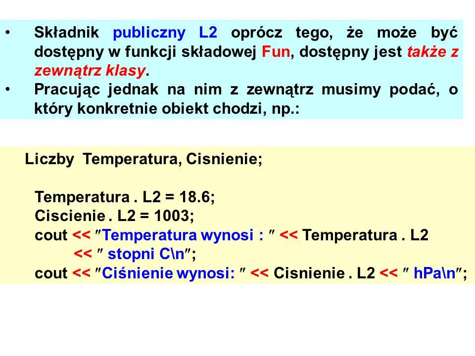 Składnik publiczny L2 oprócz tego, że może być dostępny w funkcji składowej Fun, dostępny jest także z zewnątrz klasy. Pracując jednak na nim z zewnąt