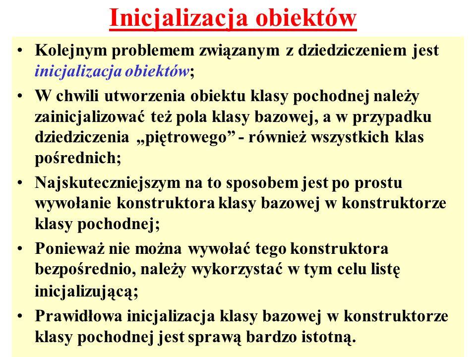 Inicjalizacja obiektów Kolejnym problemem związanym z dziedziczeniem jest inicjalizacja obiektów; W chwili utworzenia obiektu klasy pochodnej należy z