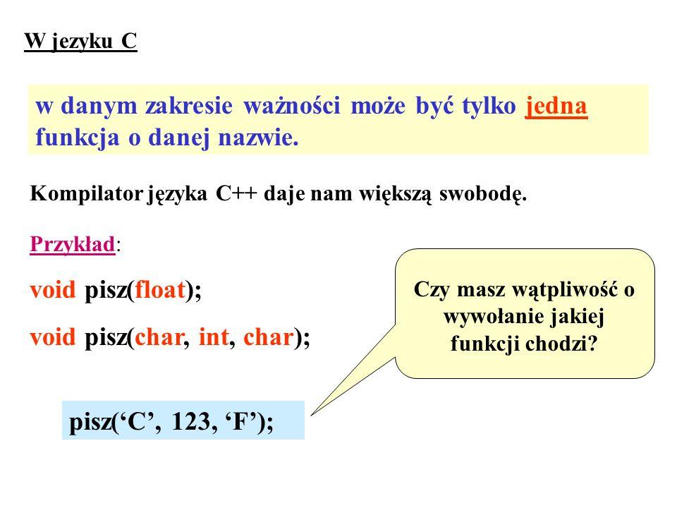 W jezyku C w danym zakresie ważności może być tylko jedna funkcja o danej nazwie. Kompilator języka C++ daje nam większą swobodę. Przykład: void pisz(
