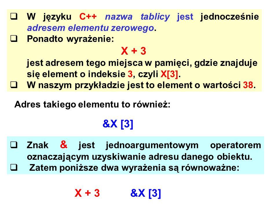 W języku C++ nazwa tablicy jest jednocześnie adresem elementu zerowego. Ponadto wyrażenie: X + 3 jest adresem tego miejsca w pamięci, gdzie znajduje s