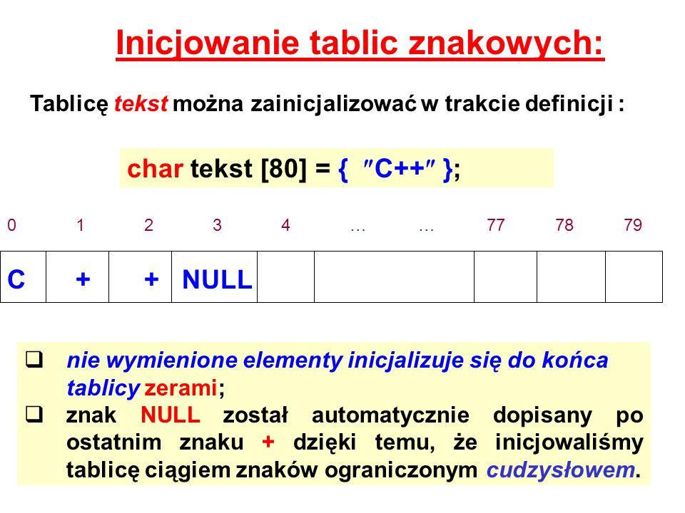 Inicjowanie tablic znakowych: Tablicę tekst można zainicjalizować w trakcie definicji : char tekst [80] = { C++ }; 01234……777879 C++ NULL nie wymienio